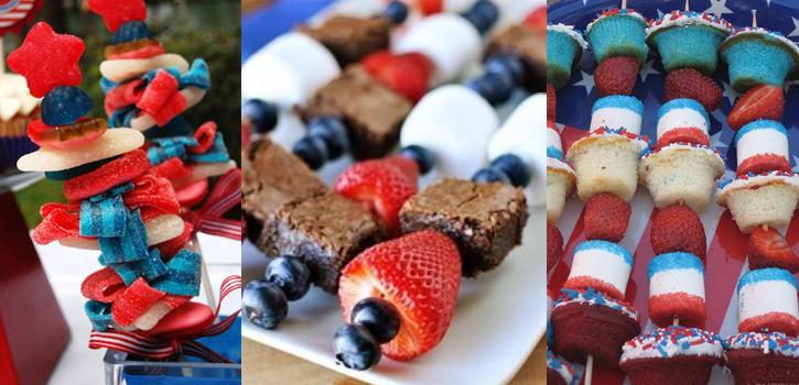 Brochettes sucrées pour Independance Day