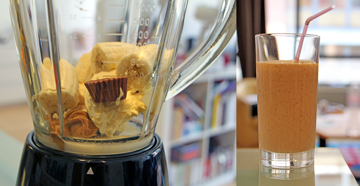Ricettea milkshake banana, peanut butter e cioccolato